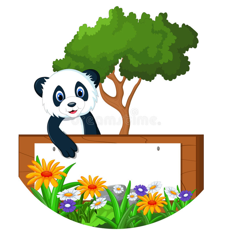 与空白的标志的熊猫动画片 库存例证