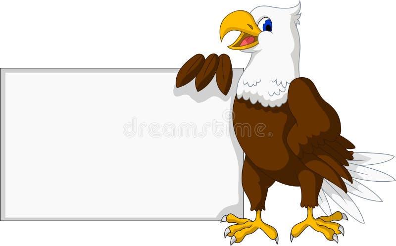 与空白的标志的老鹰动画片 向量例证