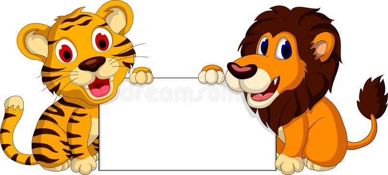 与空白的标志的逗人喜爱的狮子和老虎动画片 向量例证