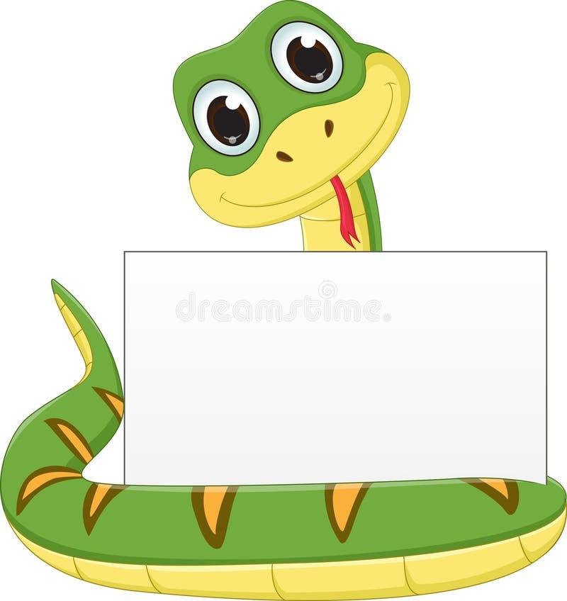 与空白的标志的逗人喜爱的蛇动画片 库存例证