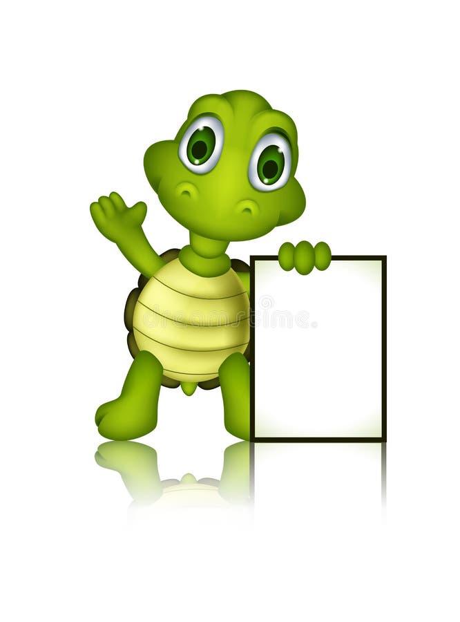与空白的标志的逗人喜爱的绿海龟动画片 向量例证