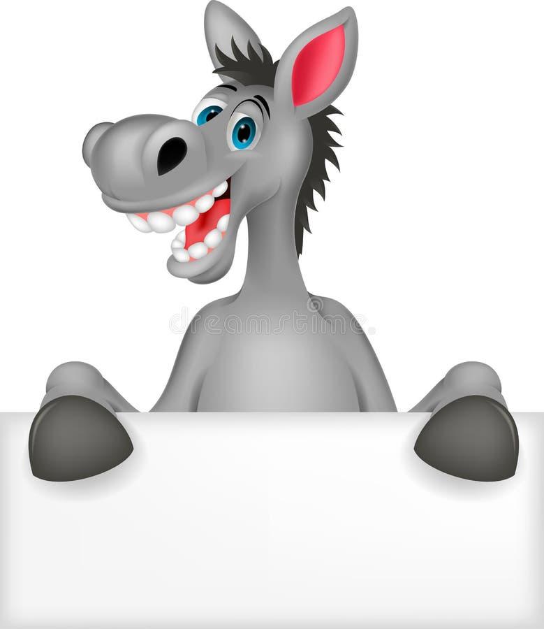 与空白的标志的驴动画片 库存例证