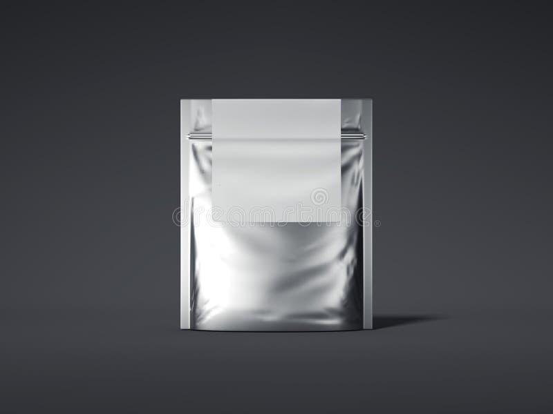 与空白的标签的银色拉链袋子 3d翻译 库存例证
