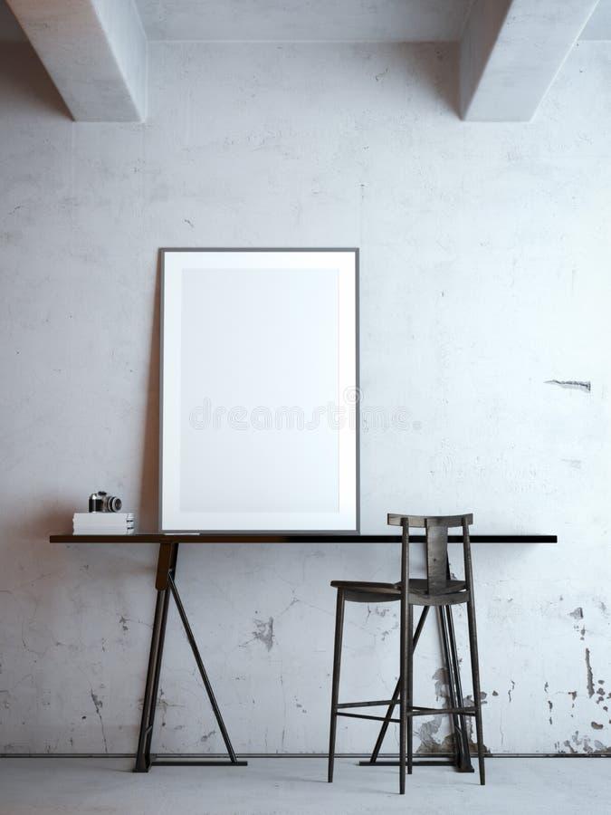 与空白的框架的黑桌 3d翻译 免版税库存照片