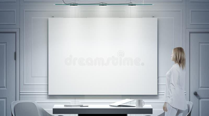 与空白的海报,人立场大模型的白色办公室内部 向量例证