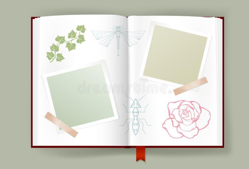 与空白的照片框架的被打开的册页的夏天记忆 皇族释放例证