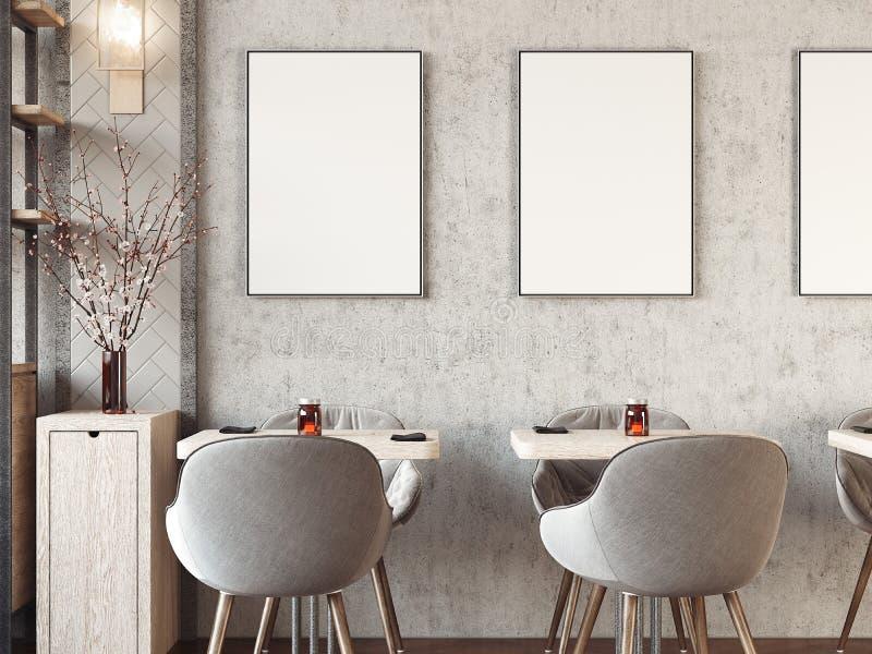 与空白的画框的现代舒适餐馆内部 3d翻译 免版税库存图片