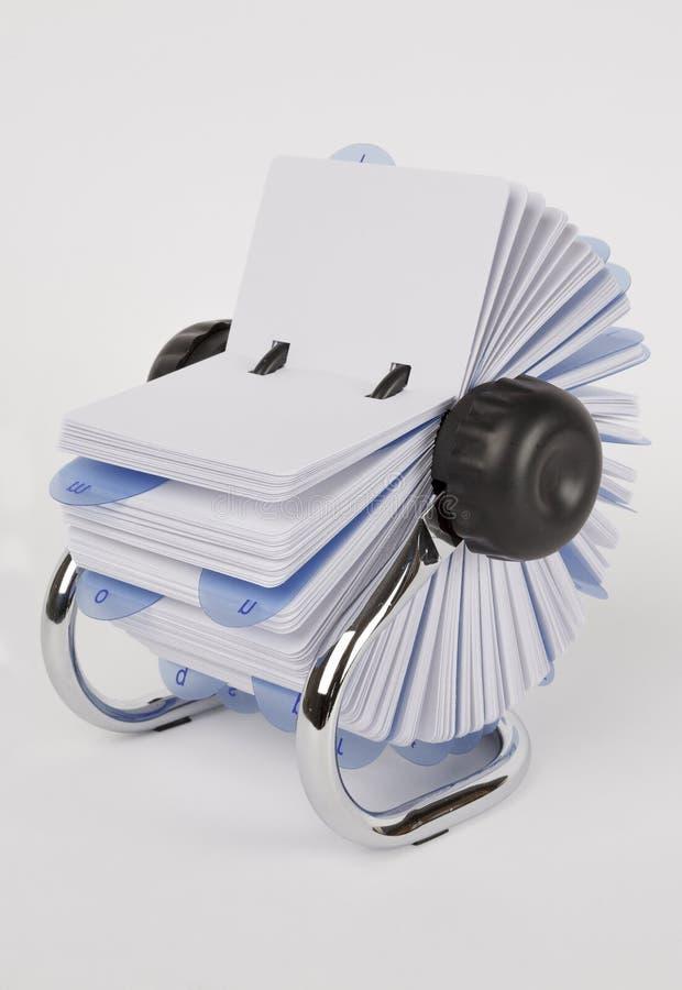 与空白的白色卡片的一个转台式索引系统 库存图片