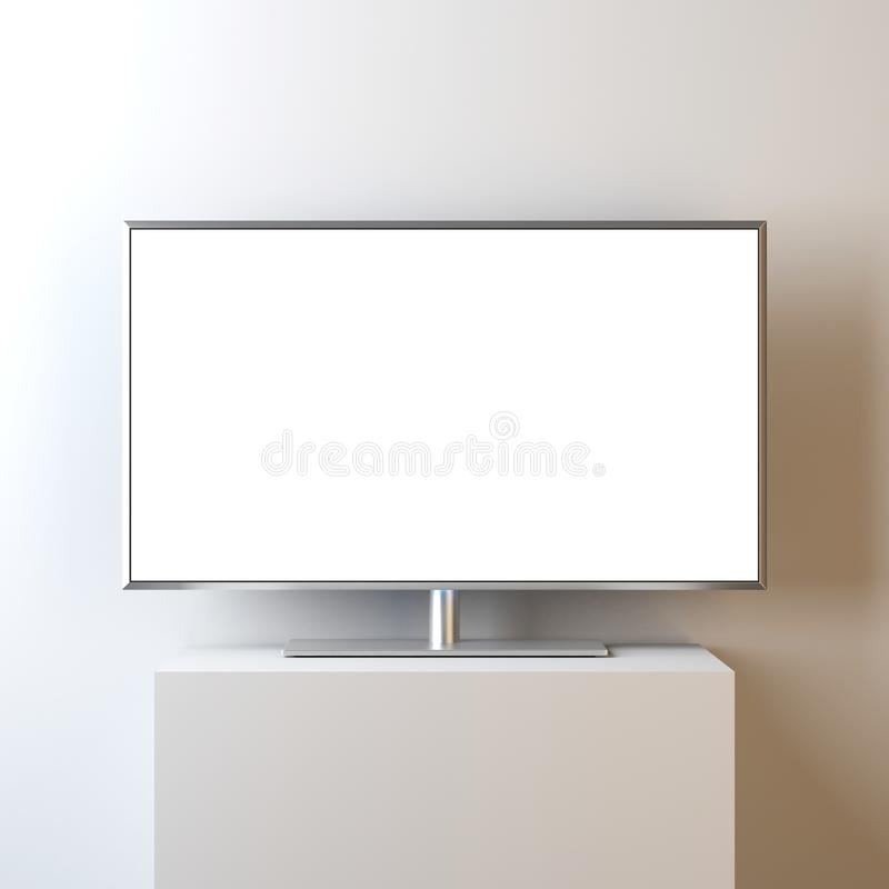 与空白的白色屏幕的平的聪明的电视大模型在立场,现实被带领的电视 皇族释放例证