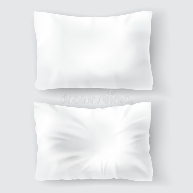 与空白的白色枕头的传染媒介现实集合 向量例证
