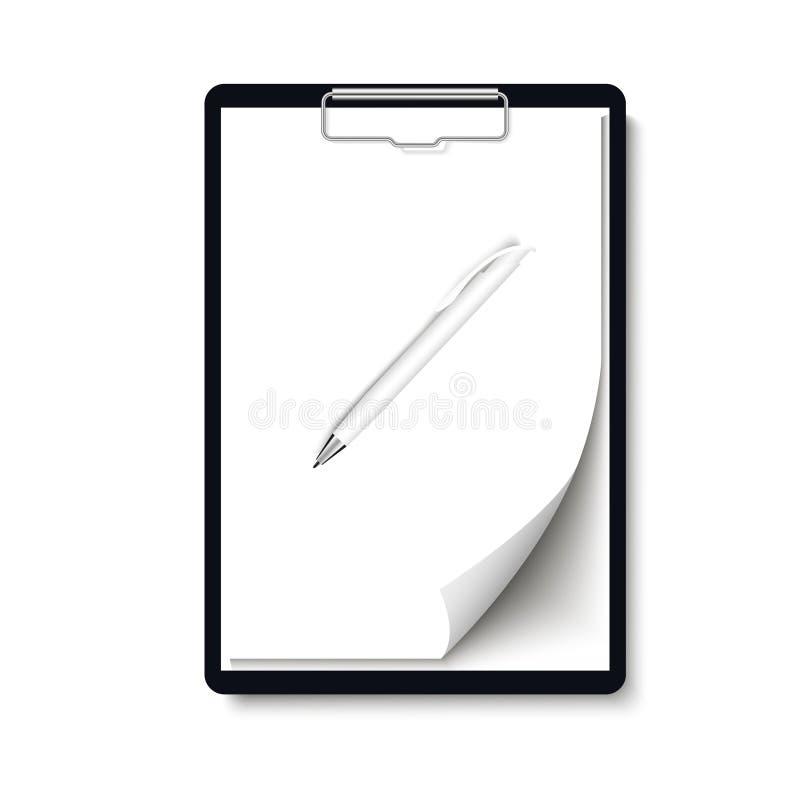 与空白的白色纸片的现实剪贴板文件夹与卷曲的角落和笔嘲笑的 向量 皇族释放例证