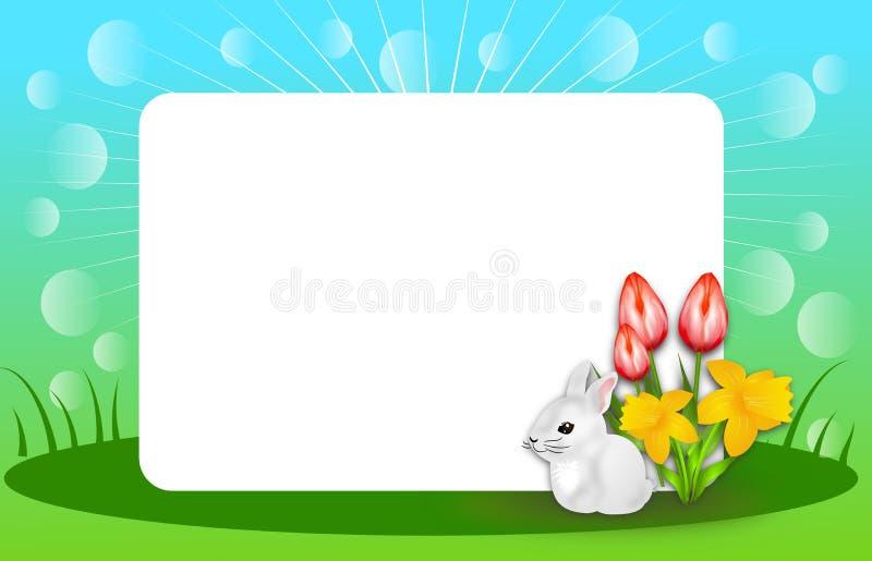 与空白的白色表的愉快的春天背景 库存例证