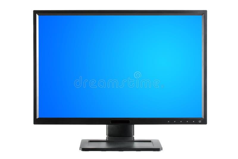 与空白的蓝色屏幕的黑显示器 免版税库存照片