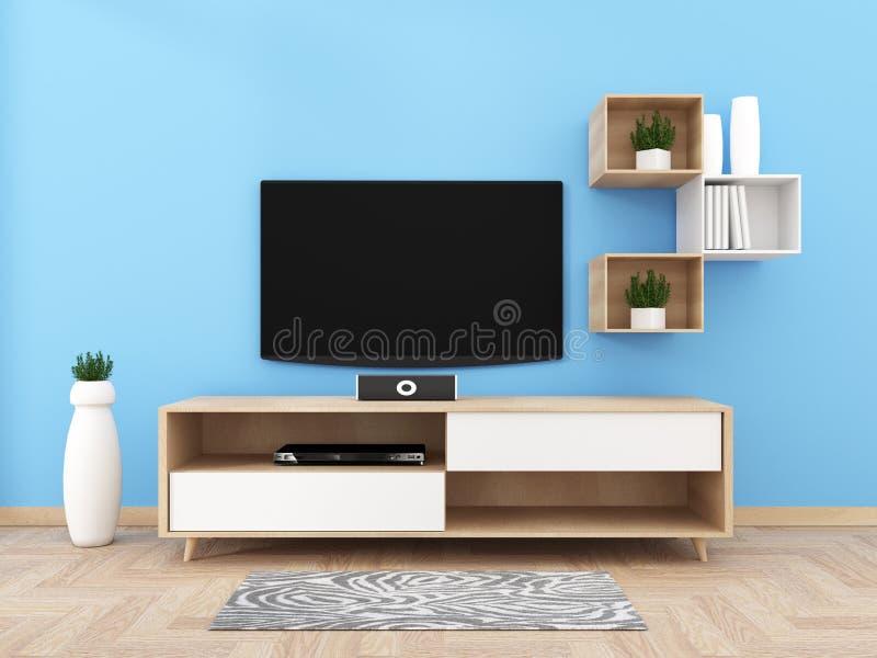与空白的黑屏幕垂悬在内阁设计的,有地板的现代客厅的聪明的电视 3d?? 库存例证