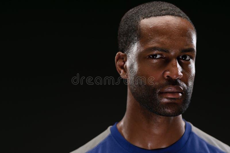 与空白的Expre的非裔美国人的运动员画象 库存照片