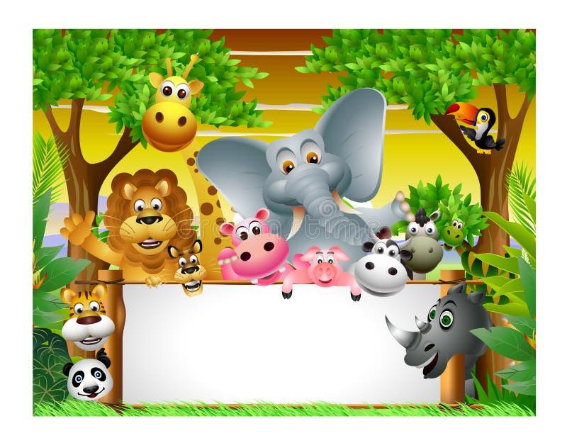 与空白符号的动物动画片 库存例证