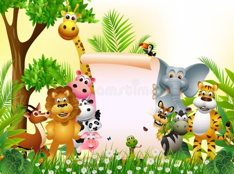 与空白符号的动物动画片 向量例证