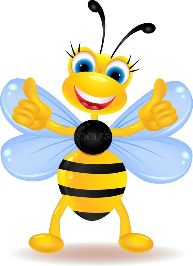 与空白符号的愉快的蜂动画片 库存例证
