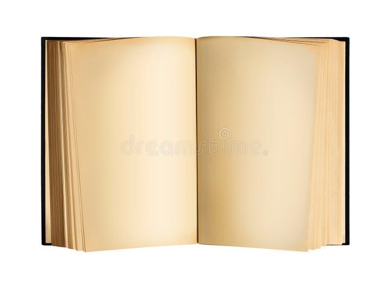 与空白纸的老开放古色古香的书 图库摄影