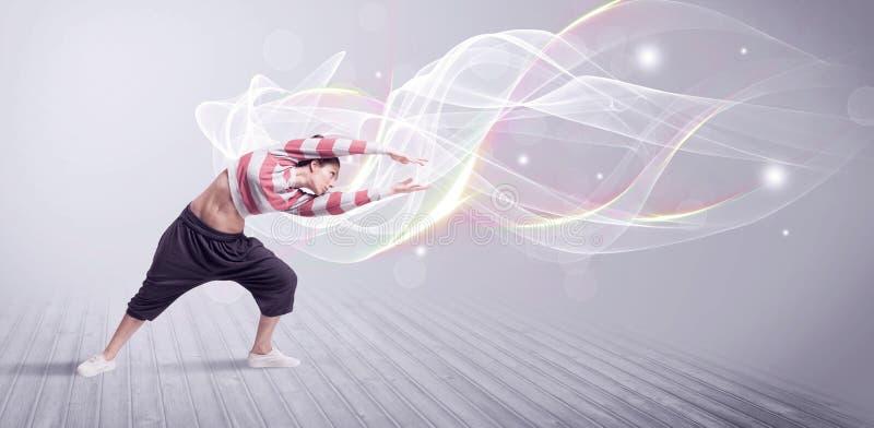与空白线路的都市breakdancer跳舞 图库摄影