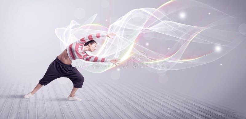与空白线路的都市breakdancer跳舞 库存图片