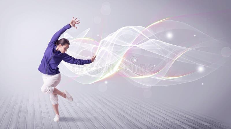 与空白线路的都市breakdancer跳舞 免版税库存图片