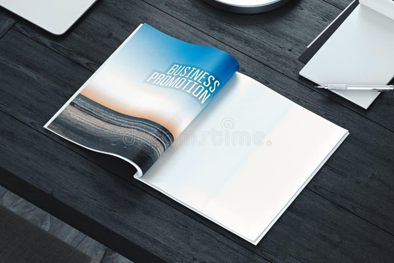 与空白页的开放杂志在灰色桌上 空的空间 3d翻译 库存图片