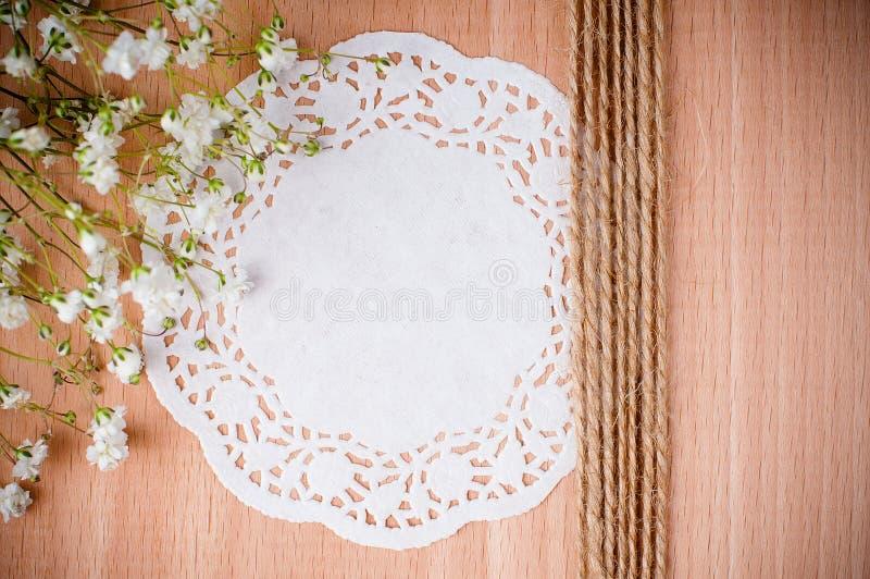 与空白餐巾的手工制造背景 库存照片