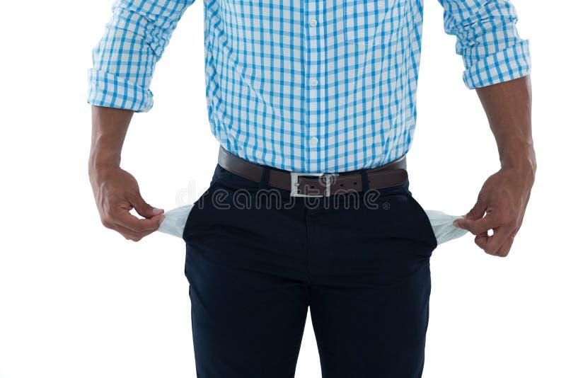 与空的口袋的男性行政身分 库存图片