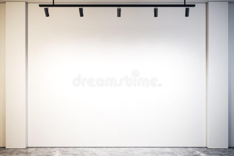 与空的墙壁的现代画廊 库存例证
