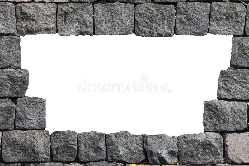 与空的孔的石熔岩墙壁框架 向量例证