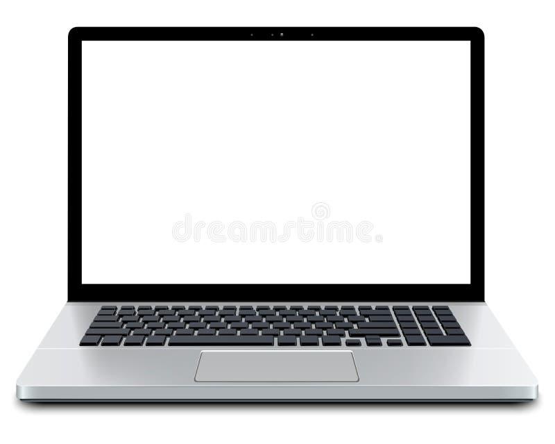 与空的屏幕的膝上型计算机 库存例证