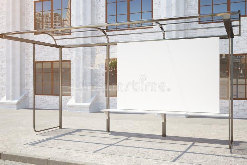与空的广告牌边的公共汽车站 向量例证