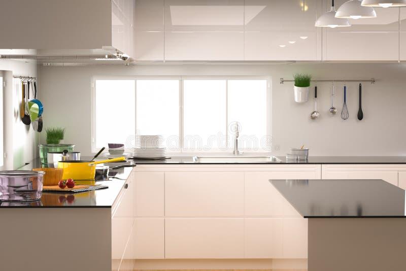 与空的柜台的厨房内部 库存例证