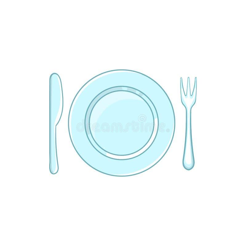 与空的盘叉子和刀子象的餐位餐具 皇族释放例证
