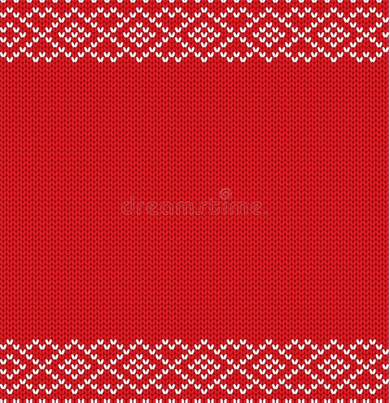 与空的空间的被编织的寒假几何装饰品文本的 编织的红颜色毛线衣纹理 向量例证