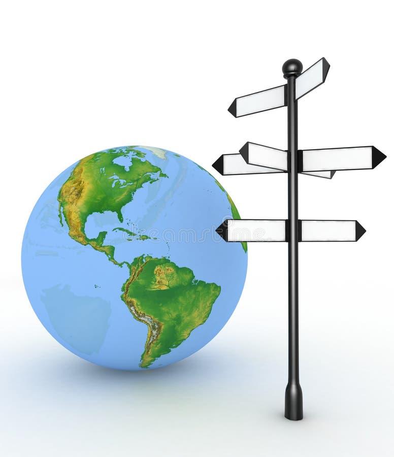 与空的箭头和地球的方向标 库存例证