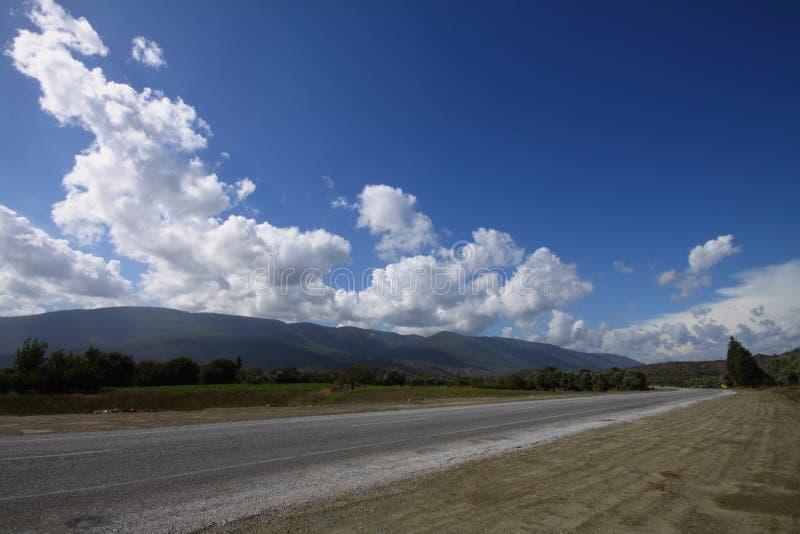 与空的路、树和天空蔚蓝的夏天风景 农村路、玉米田、木头和多云天空蔚蓝 图库摄影