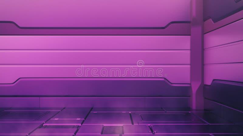 与空的阶段的氢核紫色内部 现代未来背景 技术科学幻想小说高科技概念 3d翻译 向量例证