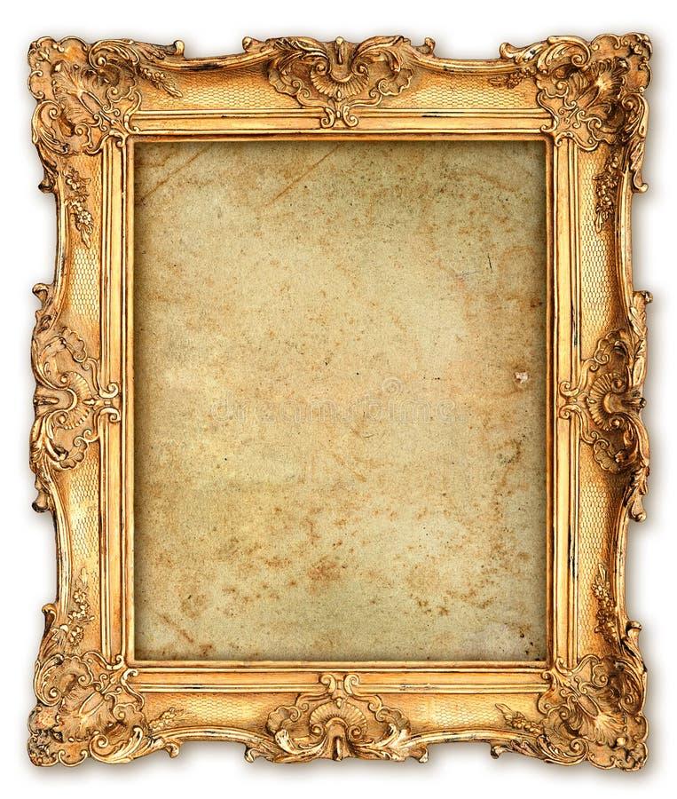 与空的难看的东西帆布的老金黄框架 库存图片