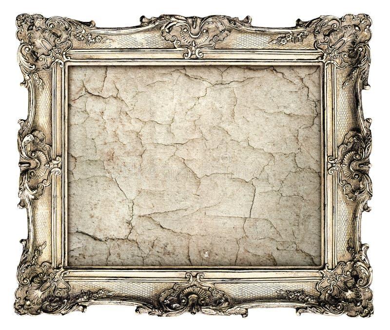 与空的难看的东西帆布的老银色框架与镇压 免版税库存照片