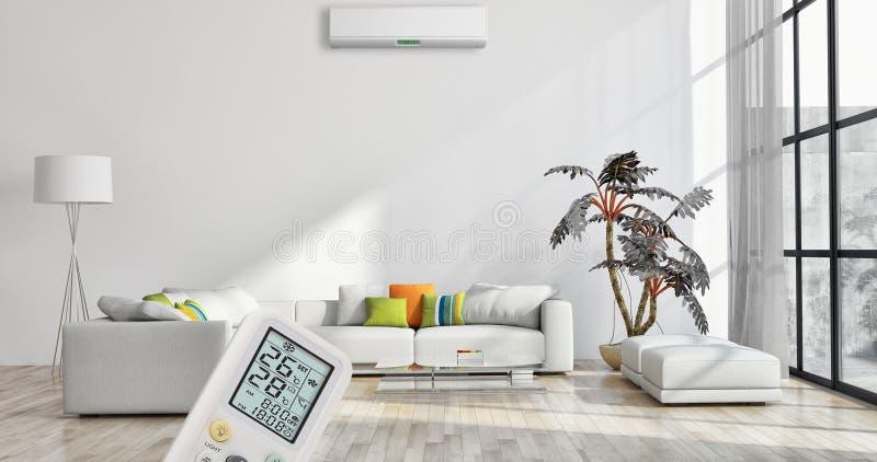 与空调和遥远的contr的现代内部公寓 库存照片