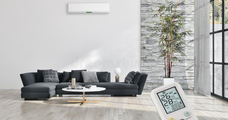 与空调和遥远的contr的现代内部公寓 免版税库存图片
