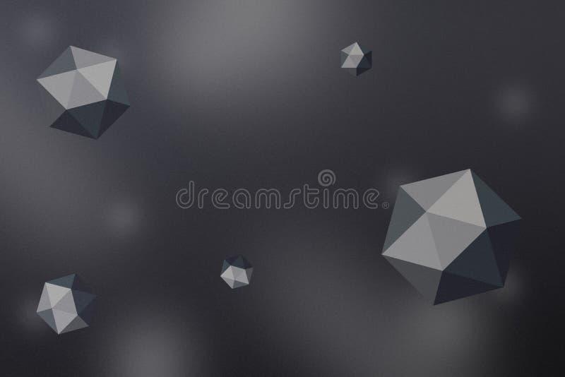 与空间和深度作用的抽象多角形球形背景 库存例证