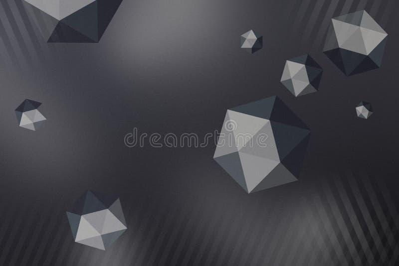与空间和深度作用的抽象多角形球形背景 皇族释放例证