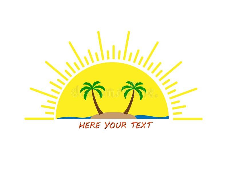 与空间您在上写字的,平的设计的太阳商标 库存例证