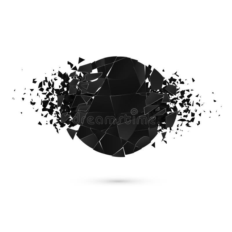 与空间的几何创造性的横幅文本的 黑圆形抽象爆炸  向量 皇族释放例证