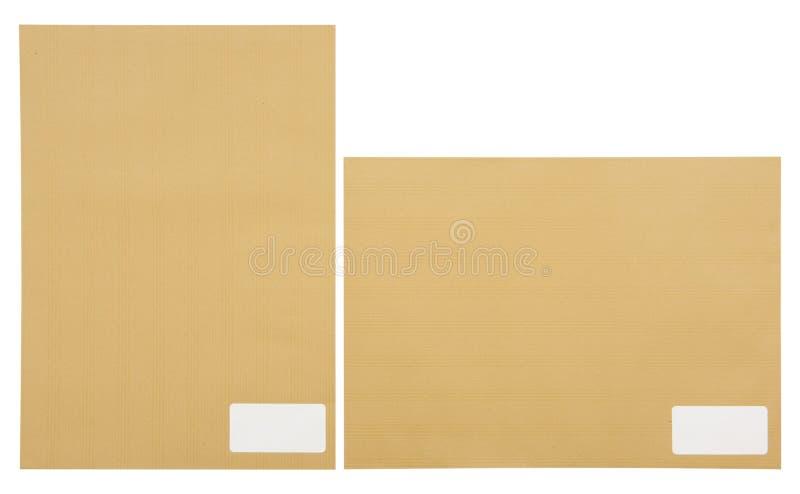 与空间的布朗信封地址目的地的 免版税库存图片
