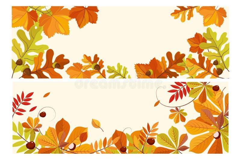 与空间的感恩背景文本的,与槭树、橡木和花揪传染媒介叶子的两副水平的横幅  向量例证