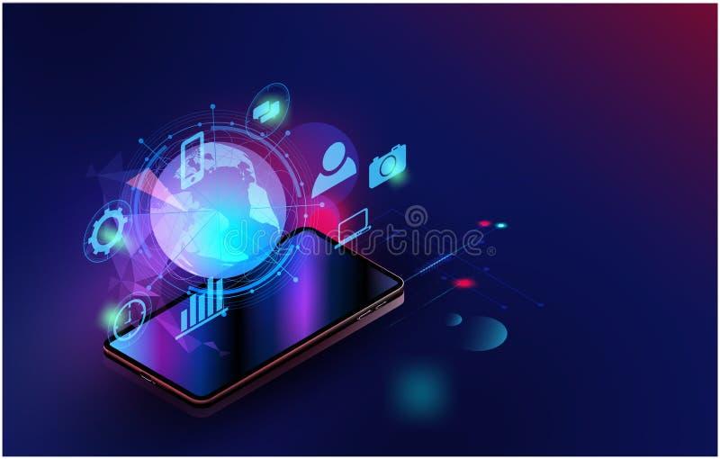 与空间的智能手机传染媒介未来派聪明的家庭技术控制安全系统内容的,网模板,事务 皇族释放例证